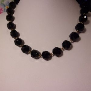 Vintage Black Glass Faceted Choker Necklace
